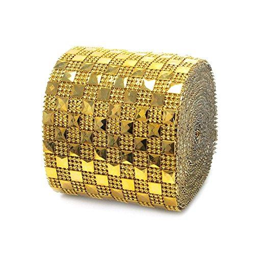 Homeford Firefly Imports Pyramid Studs Checkered Rhinestone Diamond Mesh Wrap, 4-Inch, 10 Yards, Gold, (Checkered Pyramid Stud)