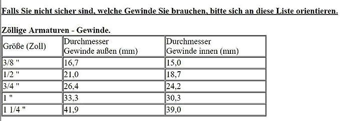 Muffe04 Gu/ß Ganze Muffe Gewinde Innengewinde 3//4 IG auf 3//4 IG Kupfer Blank