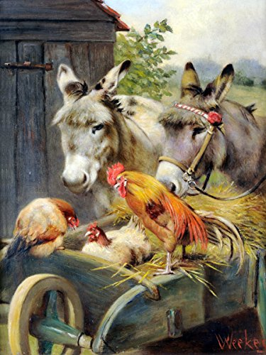 Flekman Art Rooster and chickens and donkeys by Herbert W...