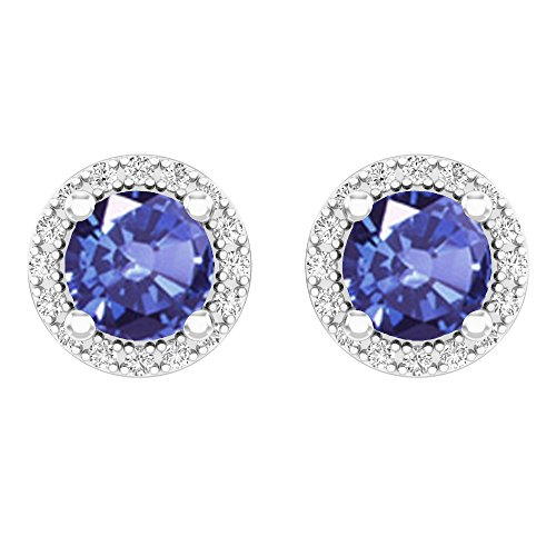 14K White Gold Round Tanzanite Quartz & White Diamond Ladies Halo Stud Earrings 2 CT - White Gold Diamond Tanzanite Earrings