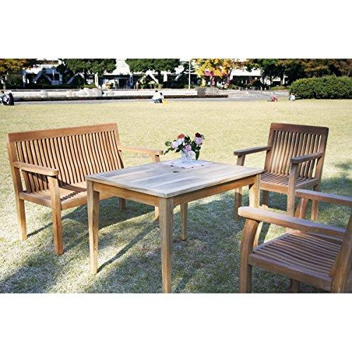 ジャービス商事 パブリックチェア テーブル 4点セット 『ガーデンテーブルセット』 無塗装 B00AE25LJ4