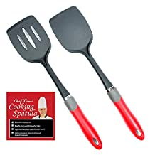 Latest 2-pc Kitchen Spatula Set - Lifetime Replacement Warranty - Multipurpose Solid And Slotted Spatulas -Nylon Utensils That Never Scratch Nonstick, Enamel, Teflon, Glass And Pyrex Pots And Pans