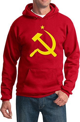 (Buy Cool Shirts Yellow Hammer and Sickle Hoodie, Red Large)
