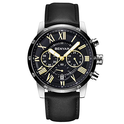 BENYAR Classic Fashion Chronograph Quartz Watch Waterproof Casual Sport Leather Band Watches(B-Black) ()