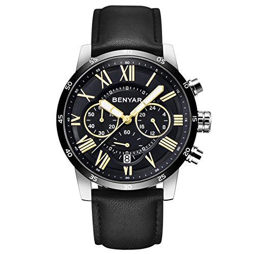 BENYAR Classic Fashion Chronograph Quartz Watch Waterproof Casual Sport Leather Band Watches(B-Black)