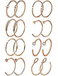 16Pcs 20G 316L Stainless Steel Nose Rings Hoop Tragus Cartilage Helix Ring Lip Septum Piercing 8-10MM