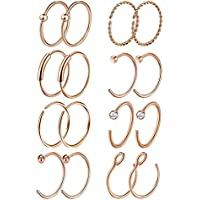 Masedy 16Pcs 20G 316L Stainless Steel Nose Rings Hoop Tragus Cartilage Helix Ring Lip Septum Piercing 8-10MM