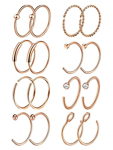 Masedy 16Pcs 20G 316L Stainless Steel Nose Rings Hoop Tragus Cartilage Helix Ring Lip Septum Piercing Rose Gold 10MM