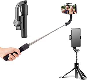 Gimbal Stabilizer for Smartphone,Auto Balance, Reduce Shaking,Pan-tilt Tripod with Built-in Bluetooth Remote for iPhone 11/11 Pro/X/Xr/6s,Samsung S10+/S10/S9/S8,Huawei P30 Pro (Single axis Black)