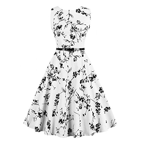 Women Vintage Rockabilly High Waist A Line Ink Painting Printing Sleeveless O-Neck Pleated One-Piece Pinup Dress(M)
