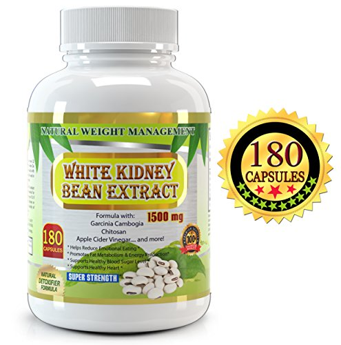 White Kidney Bean 180 Capsules, Premium Quality, Formula with Garcinia Cambogia, Apple Cider, Aloe Vera , Chitosan and More. Experience the White Kidney Bean Carb Blocker