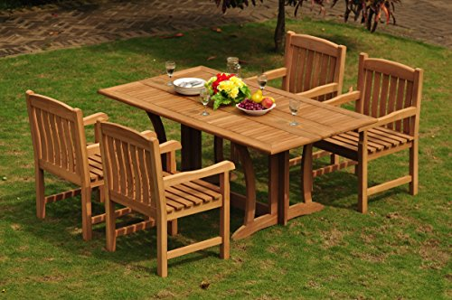 TeakStation 4 Seater Grade-A Teak Wood 5 Pc Dining Set: 69