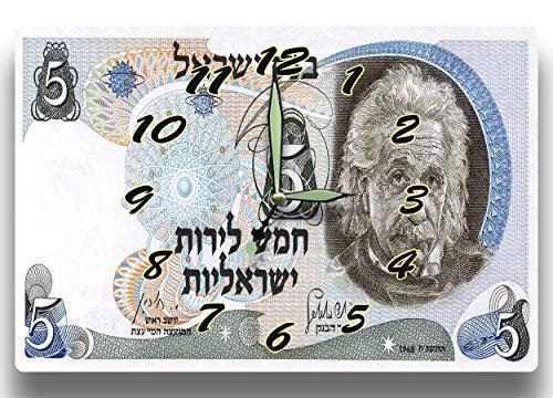 Albert Einstein Customized Money Clock Israel Currency 5 Lirot Series 1968 8 x 12 inch clock Theoretical Physics Quantum Mechanics Philosophy Science