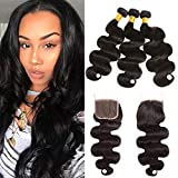 Bleaching Hair Makes It Thicker - Huarisi Body Wave Brazilian Hair with Free Part Closure 4x4 Virgin Hair 130% Density 8a Unprocessed Human Hair and Bundles Natural Color 16 18 20 +14 Inch