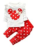 Baby Girls' 2 Pieces Polka Dot Top Leggings Clothing Set Outfits(110,Red)
