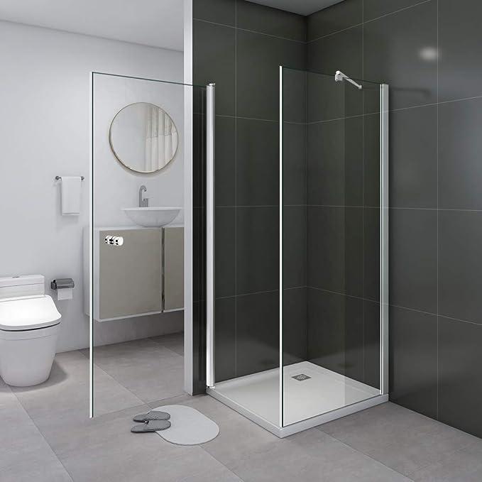 Cabina de ducha Ducha Ducha Pared 180 ° Puerta oscilante esquina. Transparente Cristal 80 x 80 x 190 cm, sin plato de ducha: Amazon.es: Bricolaje y herramientas
