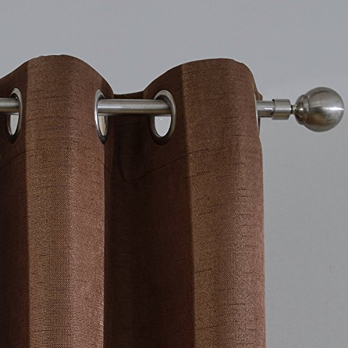 DEZENE Premium Linen Texture Blackout Curtains for Boys - Set of 2 Panels - Room Darkening Thermal Insulated Window Treatment Drapes,52 Inch Wide x 84 Inch Long,Chocolate,Grommet (Chocolate Brown Drapes)
