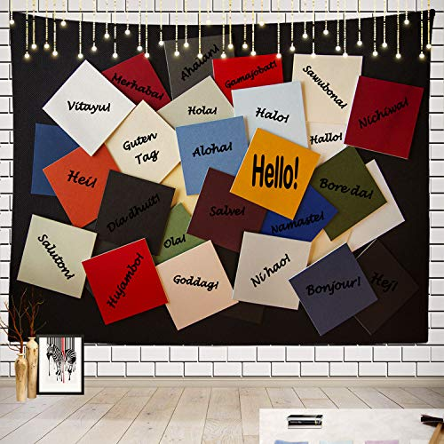 Batmerry World Tapestry, Welcome to The World Picnic Mat Beach Towel Wall Art Decoration for Bedroom Living Room Dorm