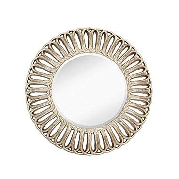Majestic Mirror Contemporary Round Silver Leaf Framed Decorative Accent Mirror
