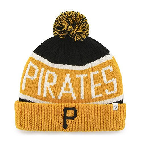 - MLB Pittsburgh Pirates '47 Brand Calgary Cuff Knit Hat with Pom, Black, One Size