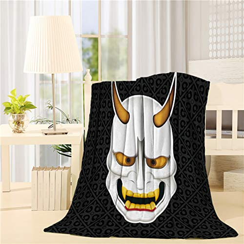 Flannel Fleece Bed Blanket Couch Throws Soft Lightweight Cozy Plush All-Season Microfiber Luxury Blanket Stadium Throws - 50 x 60 Inch Halloween Japanese Ghost Mask
