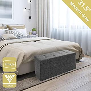 """Seville Classics 31.5"""" Foldable Tufted Storage Bench Footrest Toy Chest Coffee Table Ottoman, Single, Charcoal Gray"""