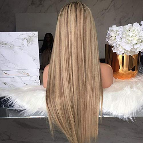 Jinjiums Wigs❀,Realistic Long Straight Hair Wig Mixed Color Wigs Synthetic Blonde Wig Heat Resistance Fiber (A)