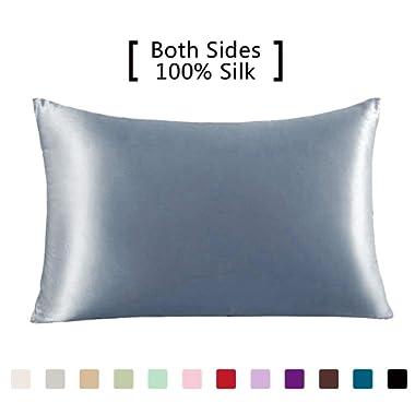 YANIBEST Silk Pillowcase for Hair and Skin - 600 Thread Count 100% Mulberry Silk Bed Pillowcase with Hidden Zipper, Queen Size Pillow Cases