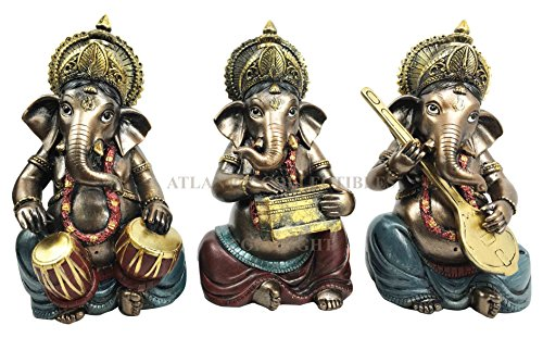 Set of Three Celebration of Life Lord Ganesha Playing Musical Instruments Hindu Elephant God Deity Figurine Eastern Enlightenment Collectible Decor