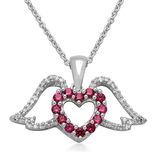 Diamond Wing Pendant (Jewelili Sterling Silver Created Ruby with Diamond Accent Heart Angel Wing Pendant Necklace, 18