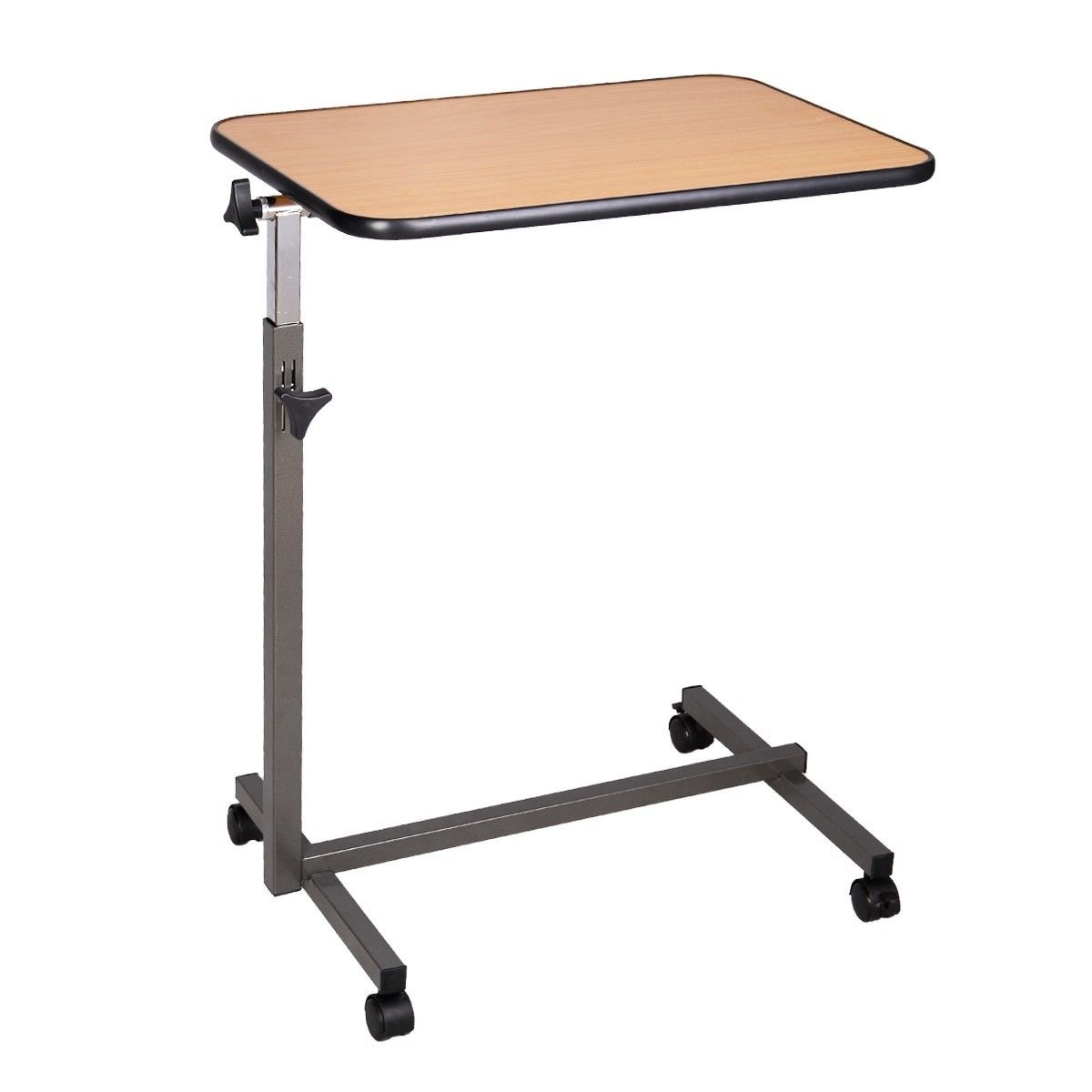 Super buy Overbed Rolling Table Over Bed Laptop Food Tray Hospital Desk With Tilting Top