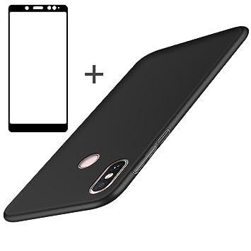 BLUGUL Funda Xiaomi Redmi Note 5 + Protector de Pantalla, Ultra Delgado, Totalmente Protector, Sensación de Seda, Cristal Templado y Dura Cover para Redmi Note 5 Negro: Amazon.es: Electrónica