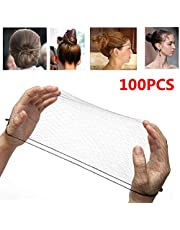 100PCS 18 inch Nylon Hair Net Hair Nets Hairnets Elastic Edge - Stretch To Fit Lightweight and Latex Free One Size Fits All