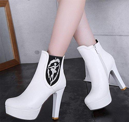 personnalité Zipper Martin Chaussures White à Talons Bottes Mode Charme Féminine de Cheville de de Side Elégant de Tempérament aigus HETAO Talons Rq0gHzngE
