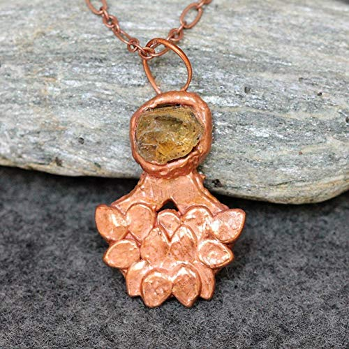 Handmade Healing Crystal Citrine Copper Necklace