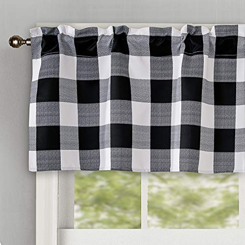 Th3mys Buffalo Checker Pattern Window Treatments Valance Printed Plaid Rod Pocket Valance Curtains Courtyard Valance for Windows 52 by 18 Inch Black (Valances Window Cool)