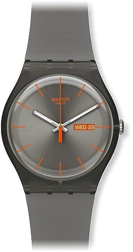 Swatch SUOM702 - Reloj analógico de mujer de cuarzo con correa de plástico marrón: Swatch: Amazon.es: Relojes
