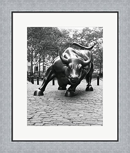 Wall Street Bull Sculpture 1 by Christopher Bliss Framed Art Print Wall Picture, Flat Silver Frame, 21 x 24 inches Bliss Framed Print