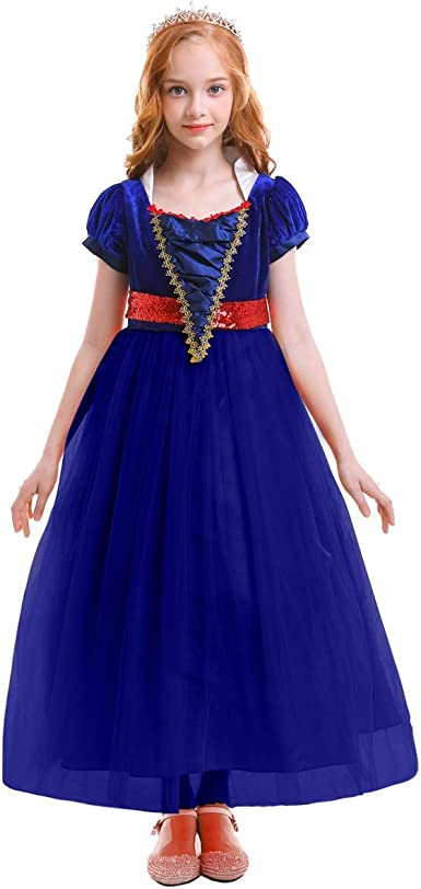 Kids Girls Snow White Princess Ball Gown Fancy Party Long Dress Cosplay Costumes