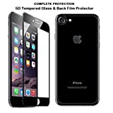 iphone 8 Tempered Glass Screen Guard Original 5D & Back Film Protector. [Anti Scratch] [HD Clear] [Curved] [Bubble-Free] [Anti Crushing] [Black Color] [Front+Back]