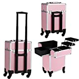 Dorfin 3-in-1 Aluminum Rolling Makeup Train Cases with 4-wheel, Professional Multi-function Artist Rolling Trolley Makeup Beauty Train Case Cosmetic Organizer W/shoulder Straps Pink