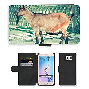 PU LEATHER case coque housse smartphone Flip bag Cover protection // M00134812 Billy Goat Cabra Perilla Animal // Samsung Galaxy S6 (Not Fits S6 EDGE)