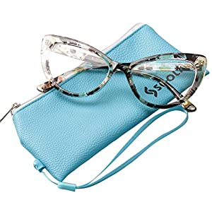 SOOLALA Womens Oversized Fashion Cat Eye Eyeglasses Frame Large Reading Glasses, Yellow, +1.25D