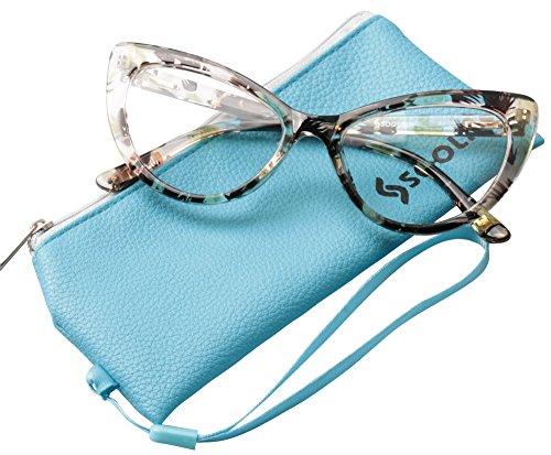 SOOLALA Womens Oversized Fashion Cat Eye Eyeglasses Frame Large Reading Glasses, Yellow, +1.25D