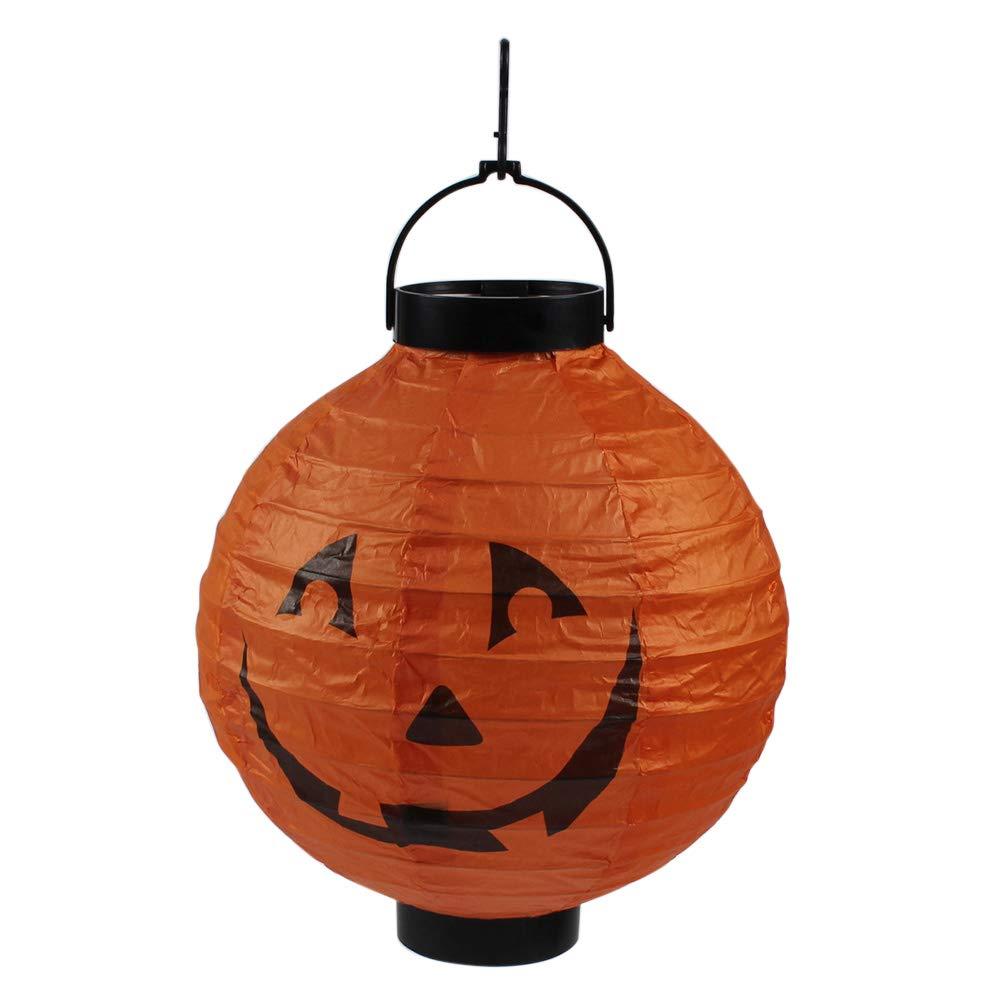 Cutogain Halloween Props Papier Lanterne Pliable Lampe LED à Suspendre Décoration de Maison araignée/Chauve-Souris/tête de Mort/Château de lumière, Black Skull