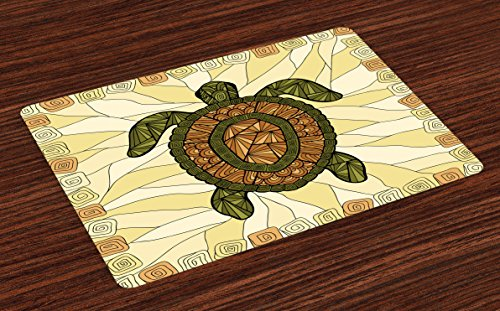 (Ambesonne Turtle Place Mats Set of 4, Stylized Turtle Zentangle on Yellow Background Spiral Forms Bohemian Artwork, Washable Fabric Placemats for Dining Room Kitchen Table Decor, Yellow Green Brown)