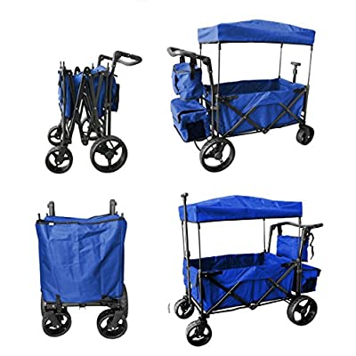 Push and Pull Handle with Wide Off Road All Terrain Tires Folding Stroller Wagon Outdoor Sport Collapsible Baby Trolley W/Canopy Garden Utility Shopping Travel CARTFREE Carrying Bag (Blue): Toys & Games