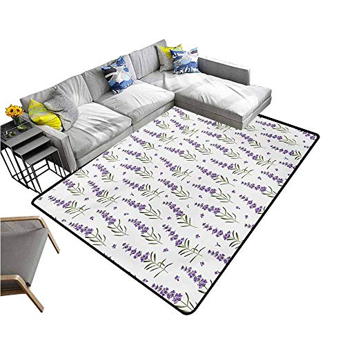 Bedroom Living Room Area Rug Lavender,Nature Pattern with Delicate Lavender Twigs Fresh Organic Plants Herb,Violet Sage Green White 48