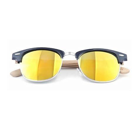 HAOYUXIANG Retro Metall Half Frame Bambus Füße Sonnenbrillen Bambus Beine Brillen Holz Spiegel Beine Sonnenbrillen,C2