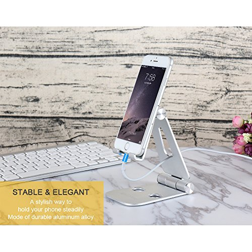 Portable-iPhone-Stand-MerryNine-Fully-Foldable-Alu-Ti-Alloy-Stand-078-Inch-Slim-635-Oz-Dual-270-Degree-Desktop-iPhone-Screen-Holder-Dock-for-SmartPhone-Sumsang-Galaxy